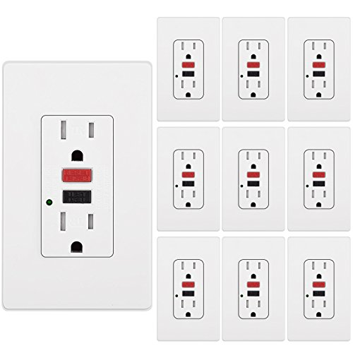 [10 Pack] BESTTEN Tamper-Resistant GFCI Outlet Receptacle (15Amp 125Volt), LED Indicator, 2 Types Wall Plates and Screws Included, ETL Certified, White