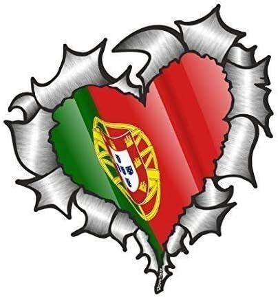 En Forma de Corazón Rasgado Metálico Portugal Portugués Bandera para Equipo de Fútbol Soporte Match Pegatina Vinilo Coche 105x100mm