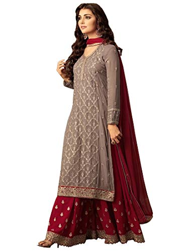 Indian/Pakistani Ethnic wear Georgette Plaazo Salwar Kameez (Red, M-40) (Best Salwar Kameez Brands India)