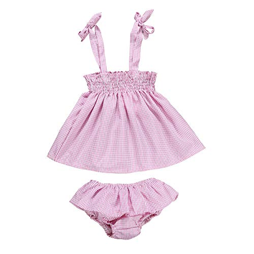 - 2Pcs Infant Baby Girls Summer Clothes Strap Halter Tops Ruffle Bottoms Shorts Pink Plaid Outfits (Pink, 3-6 Months)