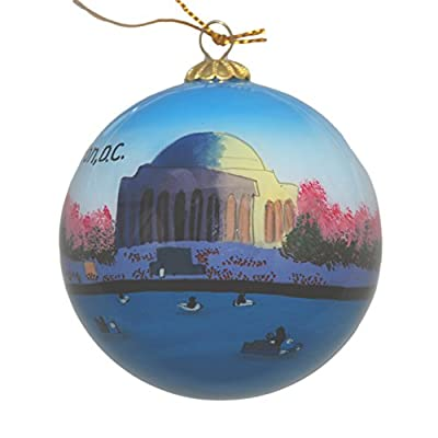 Hand Painted Glass Christmas Ornament - Washington D. C. - Jefferson Memorial with Cherry Blossoms