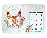 Fleece Monthly & Weekly Milestone Baby Blanket - Vibrant Photo Backdrop Growth Calendar Week/Month from Newborn to 12 Months for Boys Girls & Twins take Memory Pictures as They Age Baby Shower Gift