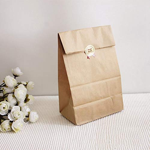 PatyHoll 50Pcs Nature Style Kraft Paper Candy Bags Wedding Gift Box Case Snack]()