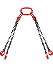 Happybuy 5Ft Chain Sling 5/16 Inch X 5 Ft Engine Lift Chain G80 Alloy Steel Engine Chain Hoist Lifts 3 Ton with 4 Leg Grab Hooks and Adjuster