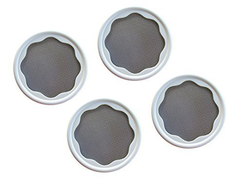 'The Original Speed Strainer Lid'® Set Of 4 Lids (Wide Mouth) Grow sprouts in a mason jar