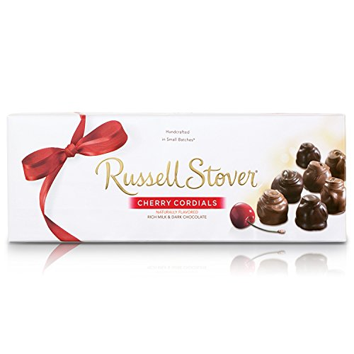 Russell Stover Cherry Cordials Box 9.25 Ounce Russel Stover Chocolate Candy Cherry Cordial; A Blend of Cherry, Sweet Syrup Covered in Smooth Chocolate Candy; Cherry Cordial Chocolate Candy Gift Box