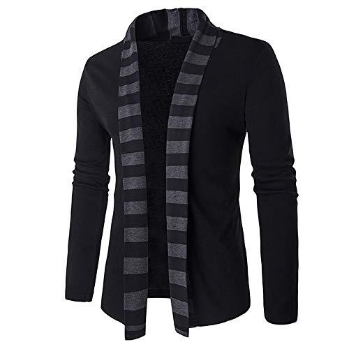 Sunhusing Men's Fashion Striped Knitted Cardigan Sweater Knitwear Jacket Sweatshirt Coat ()