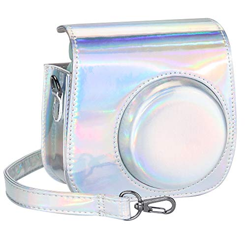 Blummy PU Leather Instax Mini 9 Camera Case for Fujifilm Instax Mini 8/ Mini 8+/ Mini 9 Instant Camera with Adjustable Strap and Pocket (Silver Laser)