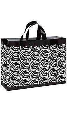 SSWBasics Zebra Frosted Plastic Shopping Bags - 16