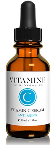 Organic Vitamin C Serum (25%) for Skin and Face | Tri-Blend Formula with C E Ferulic and Hyaluronic Acid | Powerful Anti Oxidant Repair Serum for Erasing Wrinkles and Blemishes (1 Ounce)