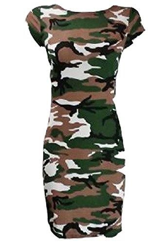 XXL Dress Party Islander Sleeve Camouflage Girocollo Cape Stampato Elasticizzato Print S Fancy Midi Womens Midi Ladies Fashions Dress qAZqSH