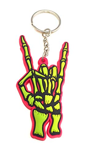 Heavy Metal Horns Skeleton Fingers Send It Harley RZR Jeep Keyring Key Chain (Electric Pink/Lime - Harley Pink Keychain Davidson