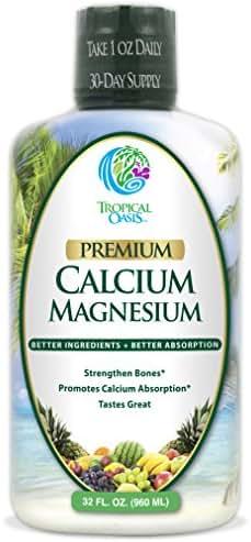 Premium Liquid Calcium Magnesium Citrate - Natural formula w/ support for strong bones - Liquid Vitamin Supplement w/ Calcium, Magnesium, Boron & Vitamin D3 – Up to 98% Absorption Rate- 32oz, 64 Serv