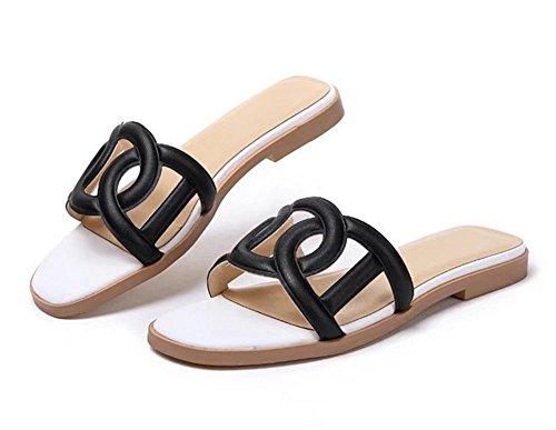 Expuestas Mujeres Verano Dedos Cool Zapatillas Sandalias Casual Negro d1RqwZX