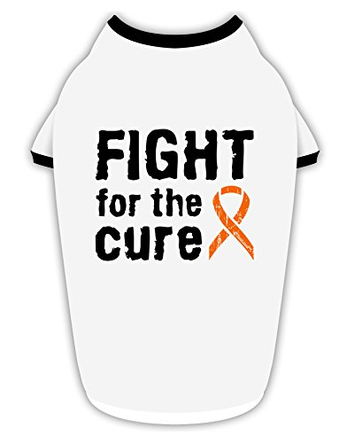TooLoud Fight for The Cure - Orange Ribbon Leukemia Cotton Dog Shirt White with Black Small