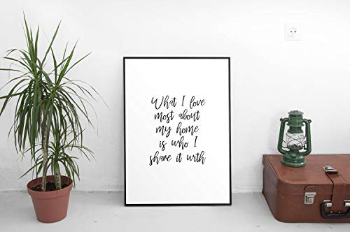 Wendore What I Love Most About My Home is who I Share it with Printable able Framed Wall Art]()