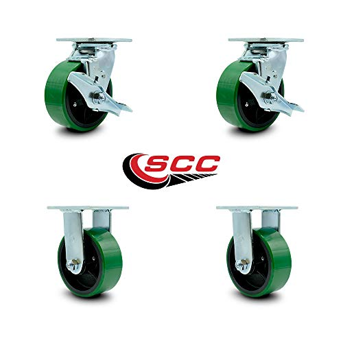Service Caster - 5'' x 2'' Polyurethane Wheel Caster Set - Green on Black - 2 Swivel w/Brakes/2 Rigid - Non Marking - 4,000 Lbs Total Capacity - Set of 4 by Service Caster (Image #5)