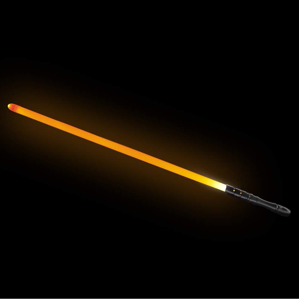 YDD LED Light Saber, Force FX Lightsaber with Sound and Light, Rechargeable Light Up Sword, Metal Hilt, Star Wars Toy for Man Kids (Black Hilt Orange Blade, Medium)