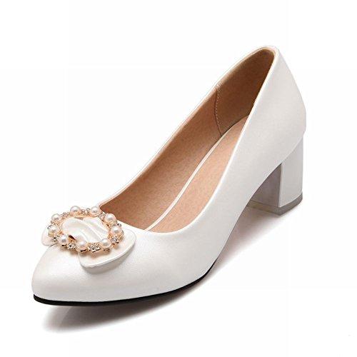 Carolbar Womens Chic Sweet Rhinestone Beaded Elegance Bows Bridal Chunky Mid Hielen Dress Pumps Shoes White