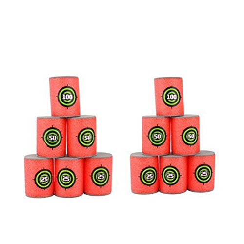 OULII Soft Foam Target Cans for Nerf Guns Games, Christmas Birthday Gift for Children, Pack of 12