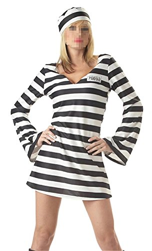 [Wecloth Adult Couple Jailbird Dress Black White Striped Prisoner Costume Cosplay Uniform] (Borg Halloween Costumes)