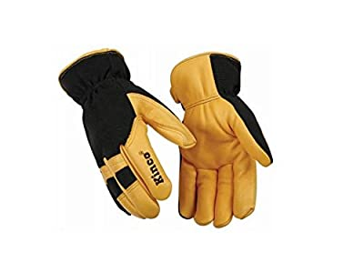 KINCO 101HK-L Men's Lined Grain Deerskin Gloves, Large, Yellow/Black