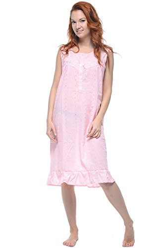 Embroidered Eyelet Gown - Casual Nights Women's Sleeveless Eyelet Embroidered Nightgown - Pink - Large