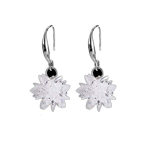 (HOUBL 2019 New arrival ice snow flower design 925 sterling silver ladies Drop snowflake earrings jewelry birthday gift wholesale,EH11081)