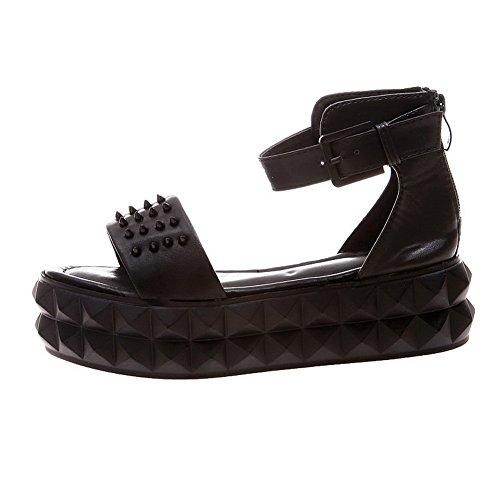 VogueZone009 Womens Open Toe Low Heel Platform PU Soft Material Solid Sandals with Rivet, Black, 3 UK