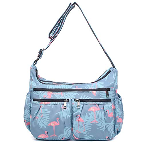 (Crossbody Bags for Women, Multi Pocket Shoulder Bag Waterproof Nylon Travel Purses and Handbags)