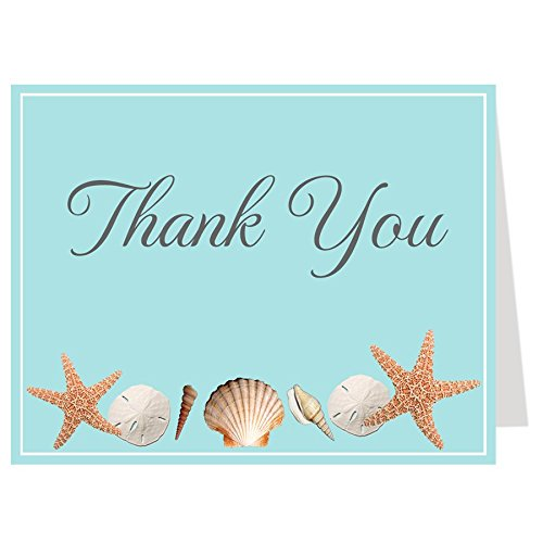 Thank You Cards, Bridal Shower, Wedding Shower, Beach, Sea Shells, Sand Dollar, Starfish, Shells, Nautical, Oceanside, 50 Printed Folding Notes with Envelopes