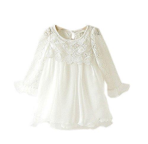 Crochet 3/4 Sleeve Dress for Toddler White Tutu Dress 2-3 Years Old