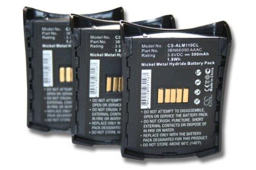 vhbw 3x Ni-MH Akku Set 500mAh (3.6V) für schnurlos Festnetz Telefon Alcatel Mobile 100 Reflexes wie 3BN66089 AAAC, 3BN66090 AAAC, 3BN67137AA.