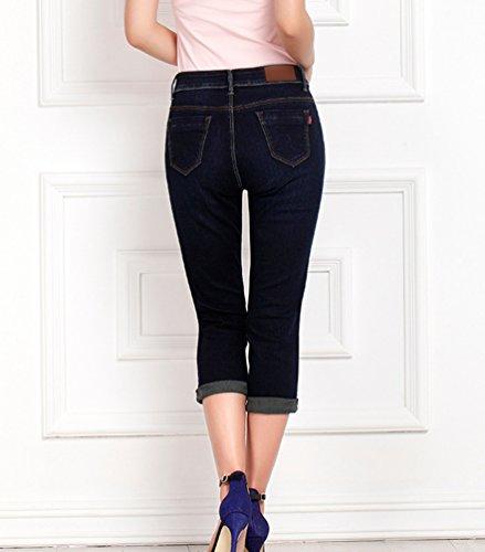 Lunghezza 3 Donna Stretch Pantaloni Denim 4 Jeans Casual Forti Cropped Elasticizzati Skinny Aderenti Scuro Leggings Yuandian Blu Taglie Estate Capri d0q4O0xX
