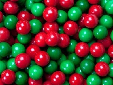 Dubble Bubble 1 Inch RED GREEN Gumballs, 1 Pound (55 Pcs), Gourmet Party (Green Bubbles)