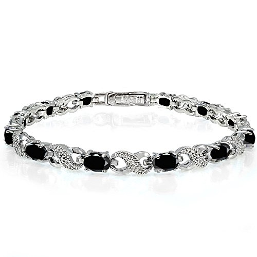 Ice Gems Sterling Silver Black Sapphire Accent Infinity Tennis Bracelet