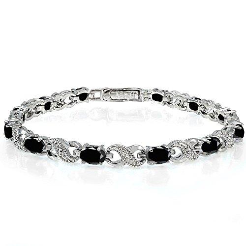 Genuine Sapphire Tennis Bracelet (Sterling Silver Black Sapphire Accent Infinity Tennis Bracelet)