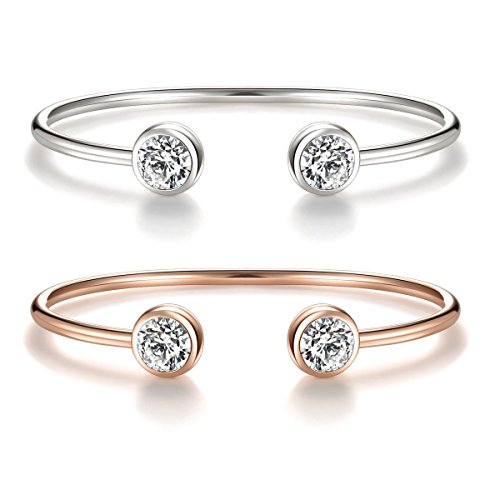 ISAACSONG.DESIGN Rose Gold Silver Tone Cuff Bangle Bracelet Zirconia Crystal Stone Jewelry for Women (Rose gold, white gold) from ISAACSONG.DESIGN