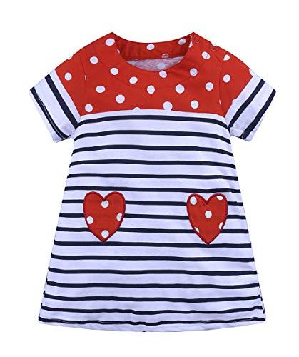 (Fashspo Toddler Girl Heart Print Stripe Cotton Short Sleeve Dress Baby Summer Casual Dresses, 4T/ 4Years)