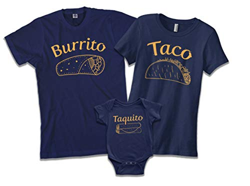 Threadrock Burrito | Dad Father Men's T-Shirt | Large, Navy