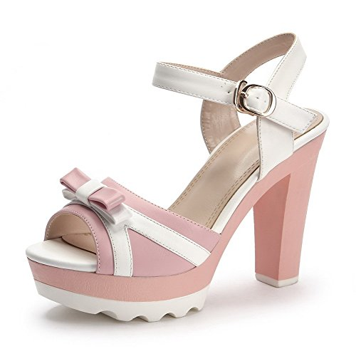 AmoonyFashion Womens Buckle Open Toe High Heels Cow Leather Assorted Color Sandals Pink MHvm4ZUV