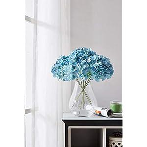 Kislohum Artificial Hydrangea Flowers Heads 10 Teal Hydrangea Silk Flowers Head for Wedding Centerpieces Bouquets DIY Floral Decor Home Decoration with Long Stems 3