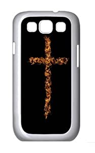Flame Art Cross Custom Hard Back Case Samsung Galaxy S3 SIII I9300 Case Cover - Polycarbonate - White