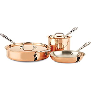 All-Clad CD0005 C2 COPPER CLAD Cookware Set with Bonded Copper Exterior, 5-Piece, Copper