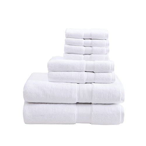- 800GSM 100% Cotton Luxury Turkish Bathroom Towels , Highly Absorbent Long Oversized Linen Cotton Bath Towel Set , 8-Piece Include 2 Bath Towels, 2 Hand Towels & 4 Wash Towels , White