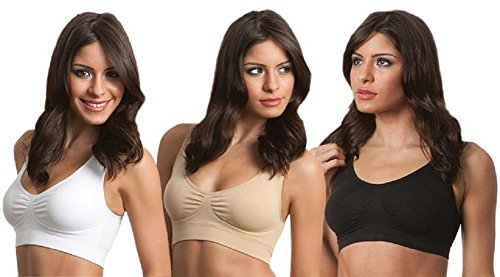 Mystiqueshapes Genie Sports Seamless Bra w/ Removable pads, Free Magic Boost Pads and Travel Pouch(XL, 3-Pack - Black Nude W