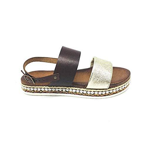 Cuero En 001 Dorado De Mujer Marrón Mb366i Zapatos Cinzia Soft Y Sandalias n6Y4qnXTP