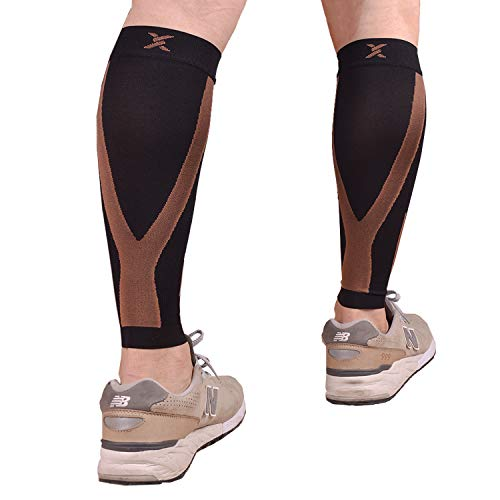 Thx4 Copper Calf Compression Sleeve(20-30mmHg) for Men & Women, Shin Splint Leg Compression Calf Sleeve- Great for Running, Cycling, Travelling- Improve Circulation and Recovery-X-Large
