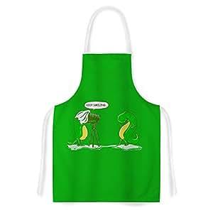 Kess InHouse RT1108AAR01 BarmalisiRTB Keep Smiling Green Illustration Artistic Apron