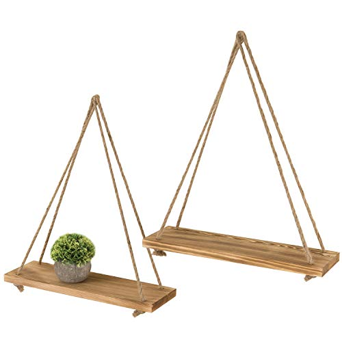 MyGift 17-Inch Light Torched Wood Wall-Hanging Shelves with Rustic Hanging Rope, Set of - Wall Hanging Light